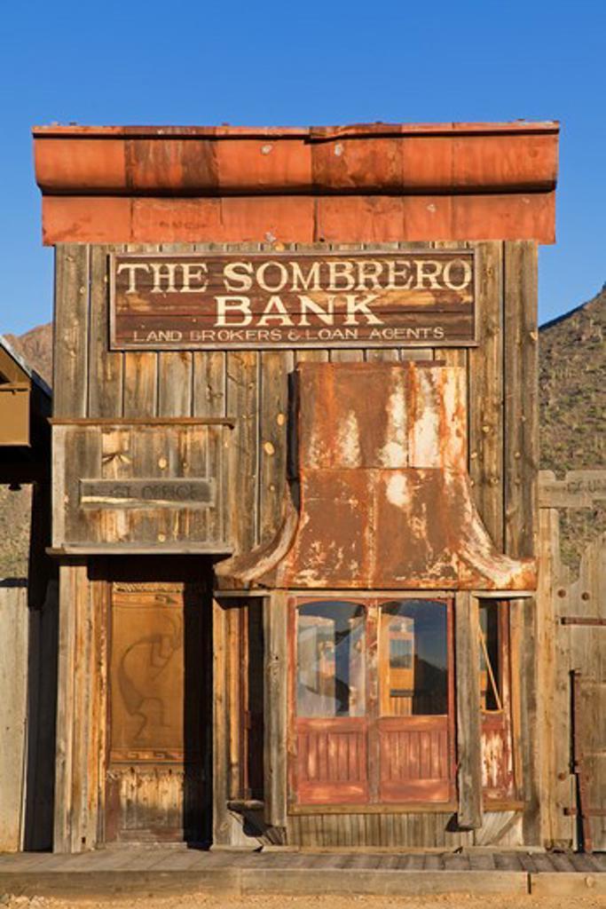 Facade of a bank, Old Tucson Studios, Tucson, Pima County, Arizona, USA : Stock Photo