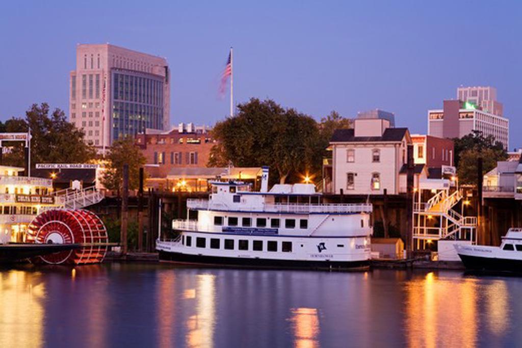 City at the waterfront, Sacramento River, Sacramento, California, USA : Stock Photo