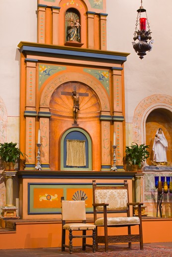 Church alter in Mission Basilica San Diego de Alcala, San Diego, California, USA : Stock Photo