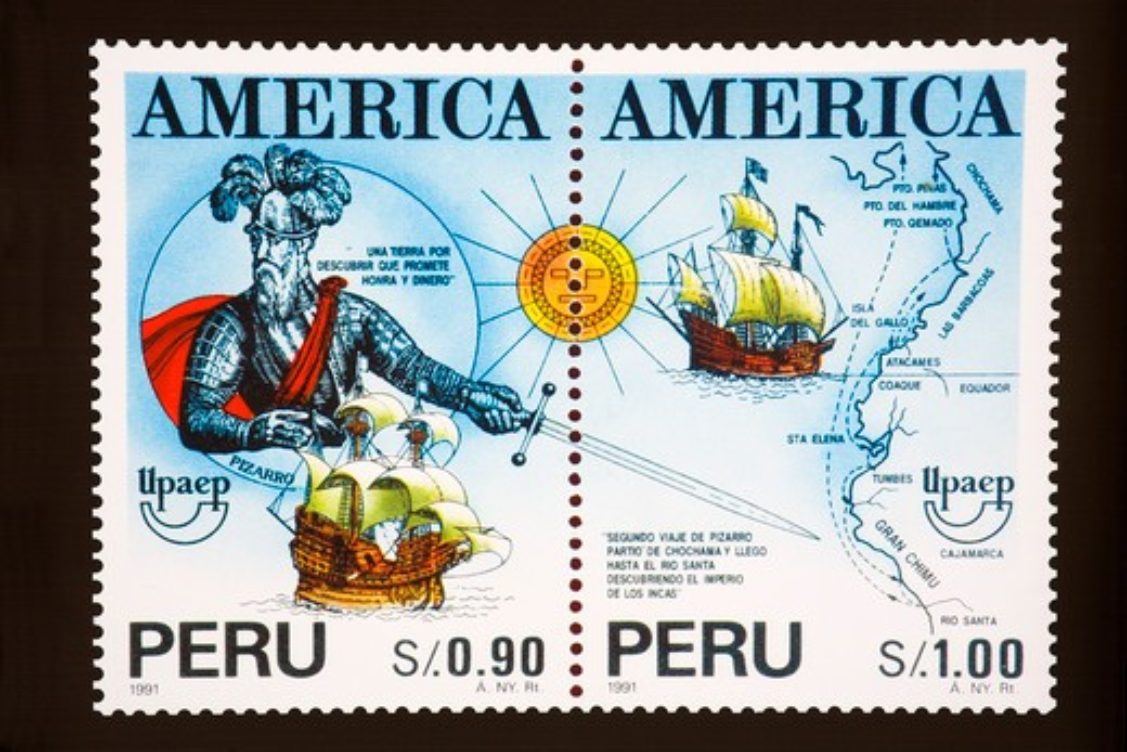 Stock Photo: 1486-12642 Close-up of a postage stamp, Plaza-De-Armas, Lima, Peru