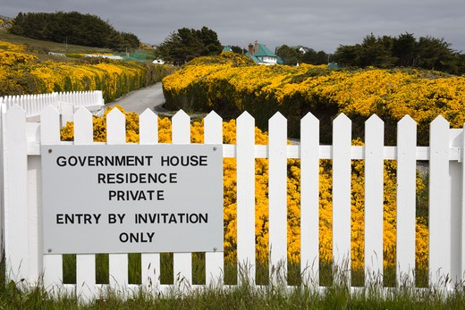Stock Photo: 1486-12655 Information board on a picket fence, Port Stanley, Stanley, Falkland Islands