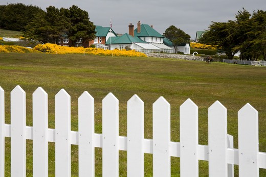 Picket fence with government building in the background, Port Stanley, Stanley, Falkland Islands : Stock Photo