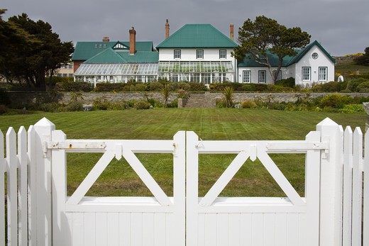 Entrance gate of a government building, Port Stanley, Stanley, Falkland Islands : Stock Photo