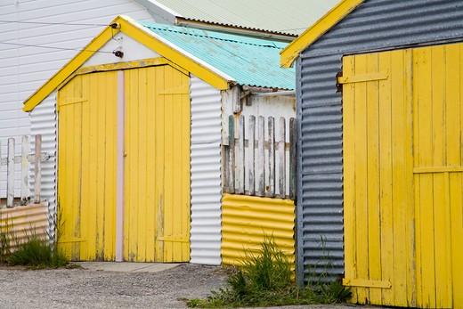 Sheds in a field, Port Stanley, Stanley, Falkland Islands : Stock Photo