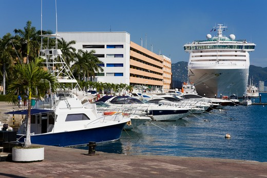 Boats at a marina, Acapulco, Guerrero, Mexico : Stock Photo