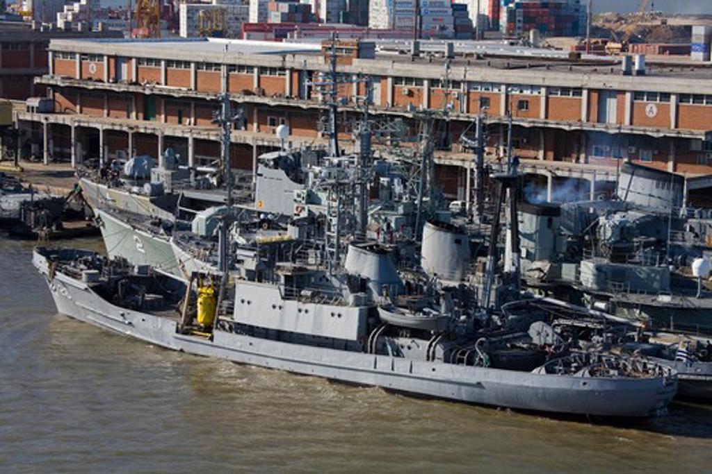 Military ship at a harbor, Montevideo, Uruguay : Stock Photo