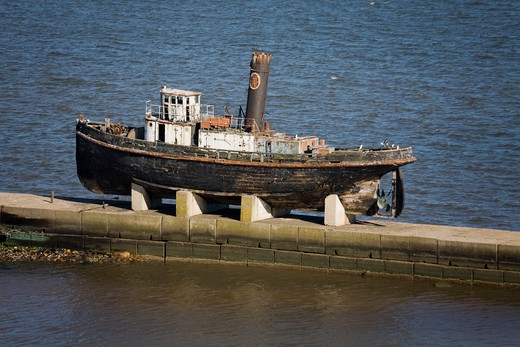 Old tugboat at a harbor, Montevideo, Uruguay : Stock Photo