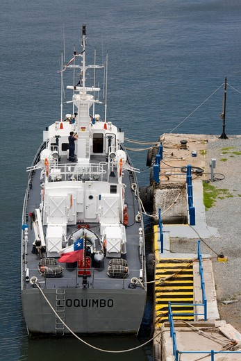 Stock Photo: 1486-12829 Military ship moored at a port, Coquimbo Port, Coquimbo, Norte Chico, Chile
