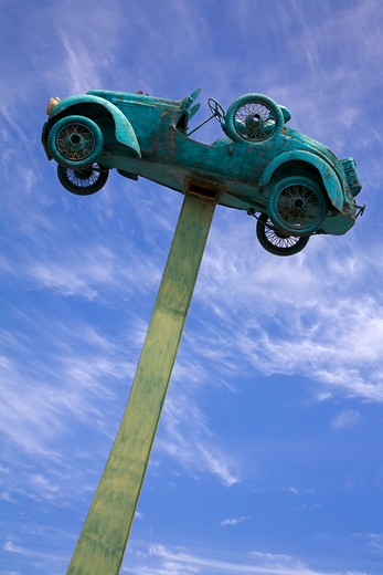 Stock Photo: 1486-12833 Low angle view of a sculpture of a car, English Quarter, Coquimbo, Norte Chico, Chile