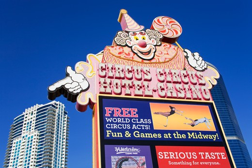 Low angle view of a signboard of a hotel, Circus Circus Las Vegas, The Strip, Las Vegas, Nevada, USA : Stock Photo