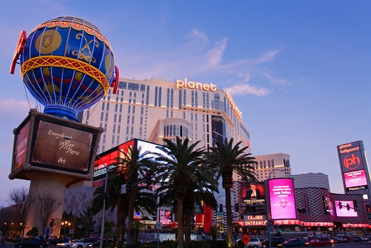 Shopping mall with a hotel in the background, Miracle Mile Shops, Planet Hollywood Resort And Casino, The Strip, Las Vegas, Nevada, USA : Stock Photo