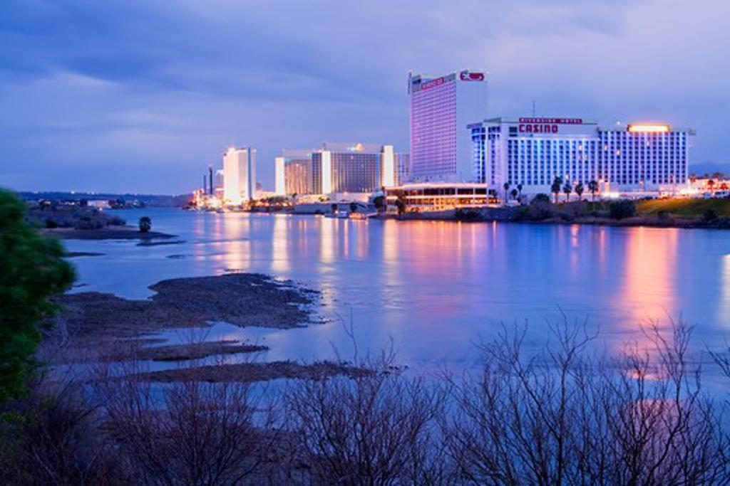 Stock Photo: 1486-12874 USA, Nevada, Laughlin City, Casinos on Colorado River