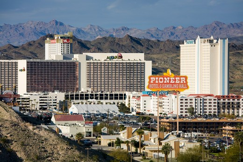 USA, Arizona, Laughlin City, Casinos : Stock Photo
