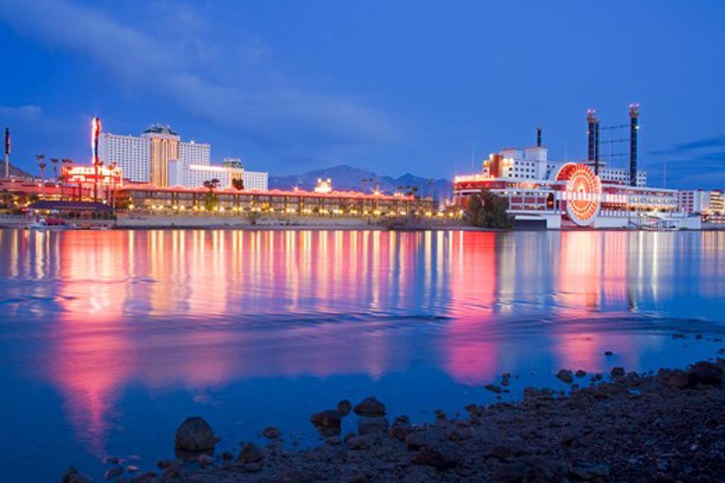 Stock Photo: 1486-12905B USA, Nevada, Laughlin City, Casinos on Colorado River at dusk