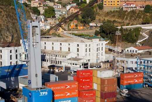 Stock Photo: 1486-12918 Cargo containers at a commercial dock, Valparaiso, Chile