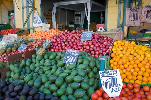 Fruits and vegetable at a market stall, Cardonal Market, Valparaiso, Chile : Stock Photo