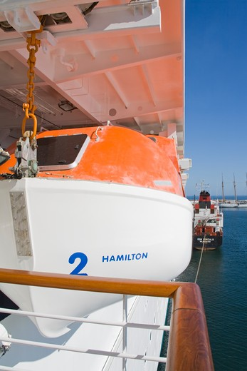 Stock Photo: 1486-12980 Lifeboat on a cruise ship 'Star Princess' at the port, Valparaiso, Chile