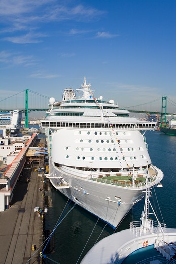 Royal Caribbean cruise ship at the port with a bridge in the background, Vincent Thomas Bridge, San Pedro, Los Angeles, California, USA : Stock Photo