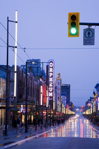 Canada, British Columbia, Vancouver, Orpheum Theatre on Granville Street at dusk : Stock Photo