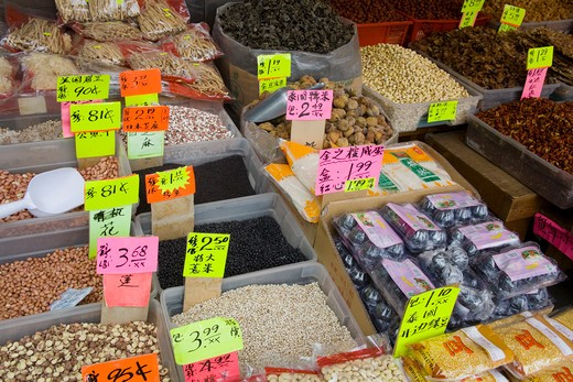 Stock Photo: 1486-13061 Canada, British Columbia, Vancouver, close up of food on market stall in chinatown