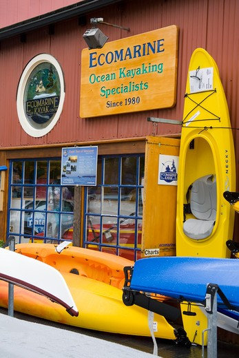 Stock Photo: 1486-13065 Canada, British Columbia, Vancouver, Granville Island, kayaking store
