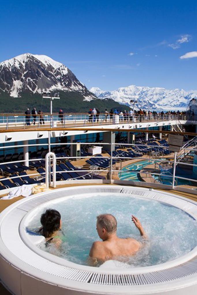 Stock Photo: 1486-13096 USA, Southeast Alaska, Yakutat Bay, Gulf of Alaska, Hubbard Glacier, Cruise ship with tourist on board in hot tub