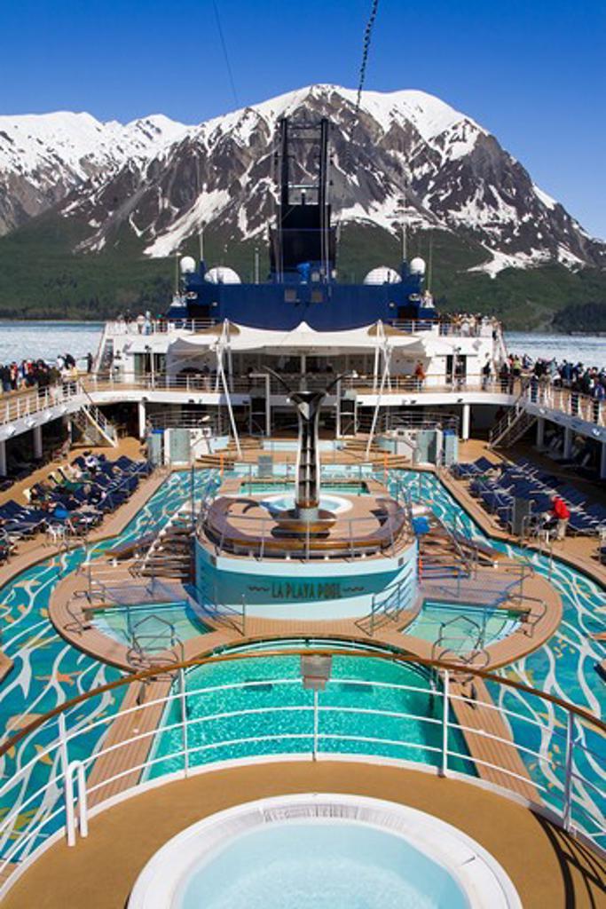 Stock Photo: 1486-13097A USA, Southeast Alaska, Yakutat Bay, Gulf of Alaska, Hubbard Glacier, Cruise ship with tourist on board