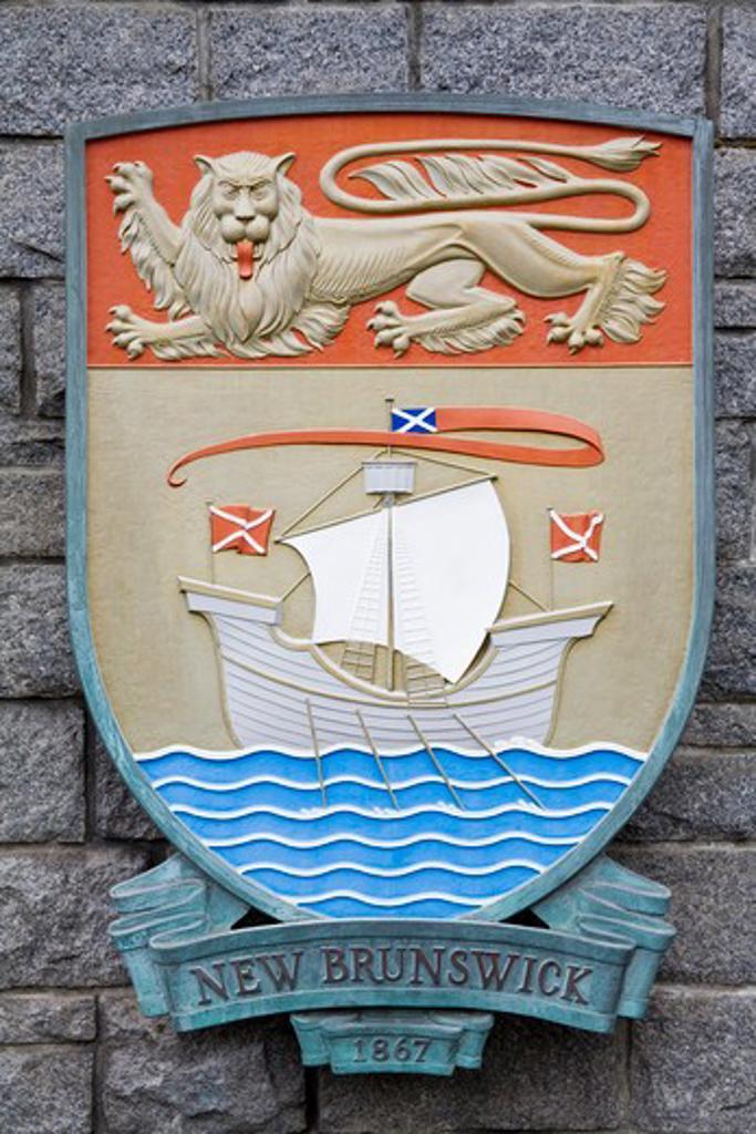 Stock Photo: 1486-13113 Canada, British Columbia, Vancouver Island, Victoria, New Brunswick Crest in Confederation Garden Court