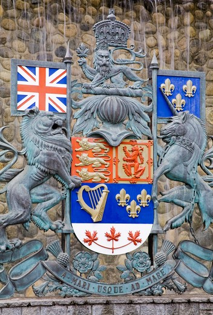Canada, British Columbia, Vancouver Island, Victoria, Crest in Confederation Garden Court : Stock Photo