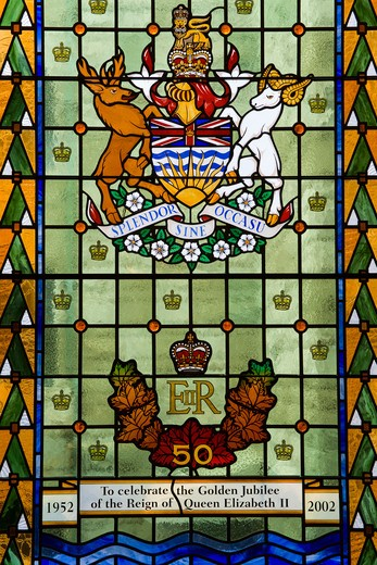 Canada, British Columbia, Vancouver Island, Victoria, Stained glass window in Parliament Buildings : Stock Photo