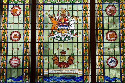 Stock Photo: 1486-13119B Canada, British Columbia, Vancouver Island, Victoria, Golden Jubilee stained glass window in Parliament Buildings