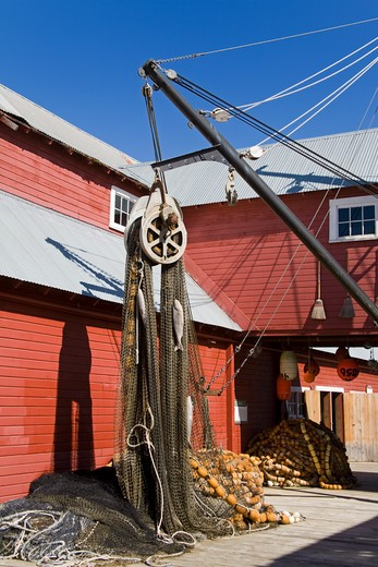 Stock Photo: 1486-13121 Commercial fishing nets in front of a museum, Cannery Museum, Icy Strait Point, Hoonah City, Chichagof Island, Alaska, USA