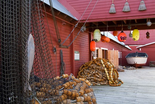 Stock Photo: 1486-13125 Commercial fishing nets in front of a museum, Cannery Museum, Icy Strait Point, Hoonah City, Chichagof Island, Alaska, USA