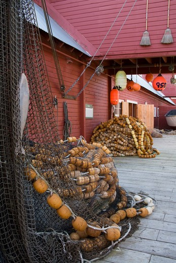 Commercial fishing nets in front of a museum, Cannery Museum, Icy Strait Point, Hoonah City, Chichagof Island, Alaska, USA : Stock Photo