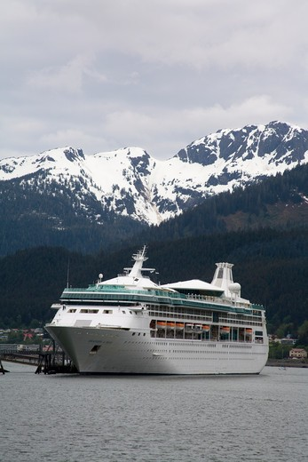 Stock Photo: 1486-13150 Cruise ship in a channel, Gastineau Channel, Douglas Island, Juneau, Alaska, USA