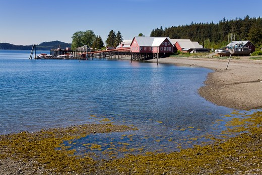 Stock Photo: 1486-13159 Bay with a museum in the background, Glacier Bay, Cannery Museum, Icy Strait Point, Hoonah City, Chichagof Island, Alaska, USA