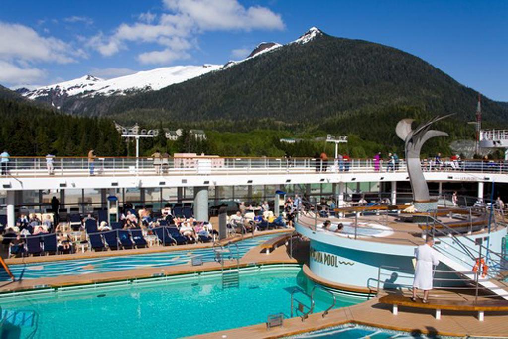 Tourists at a cruise ship, Ketchikan, Alaska, USA : Stock Photo