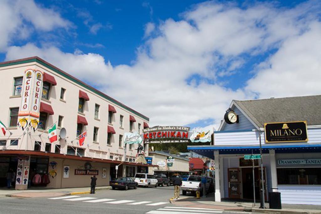 Buildings in a city, Ketchikan, Alaska, USA : Stock Photo
