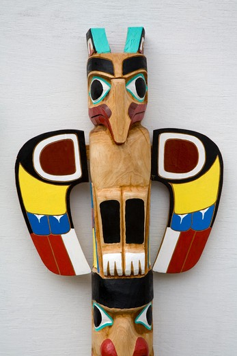Close-up of a totem pole, Ketchikan, Alaska, USA : Stock Photo
