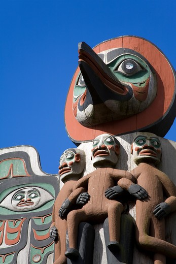 Low angle view of totem poles, Ketchikan, Alaska, USA : Stock Photo