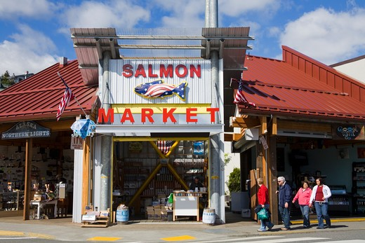 Stock Photo: 1486-13243 Facade of a salmon store, Ketchikan, Alaska, USA