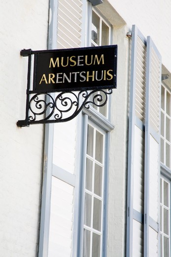 Low angle view of a museum, Arentshuis Museum, Bruges, Belgium : Stock Photo