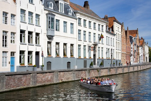Stock Photo: 1486-13297 Buildings at the waterfront, Spiegelrei, Bruges, Belgium