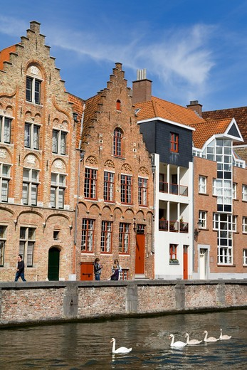 Stock Photo: 1486-13298 Buildings at the waterfront, Spiegelrei, Bruges, Belgium