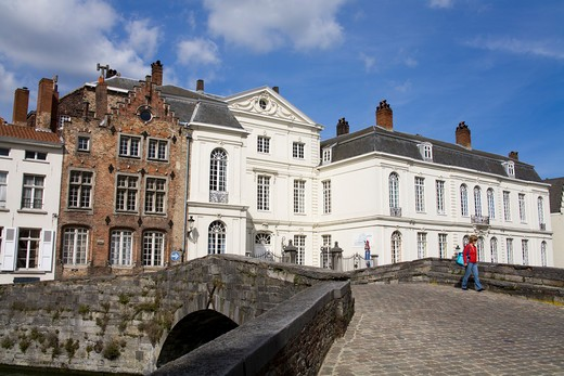 Buildings in a city, Basisschool Brugge Centrum, Spiegelrei, Bruges, Belgium : Stock Photo