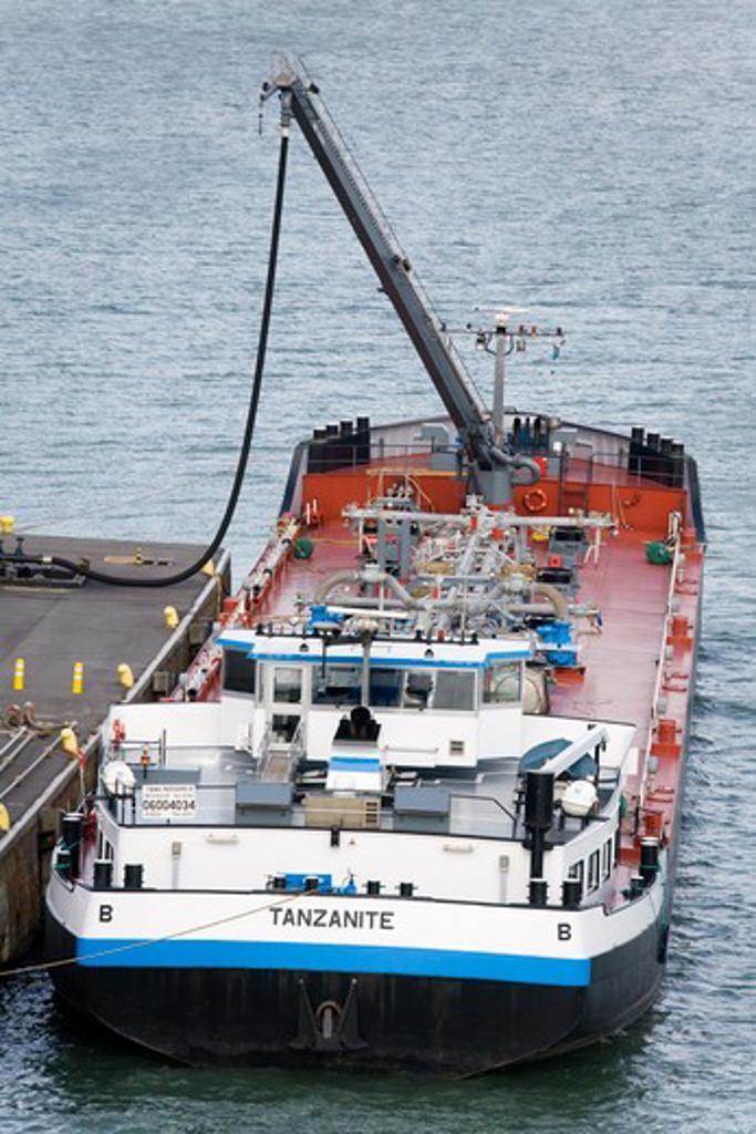 Oil tanker at a port, Port of Bruges-Zeebrugge, Bruges, Belgium : Stock Photo