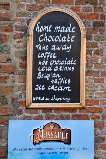 Stock Photo: 1486-13348 Menu board on a wall, Bruges, Belgium