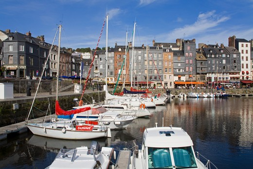 Stock Photo: 1486-13351 Boats moored at a harbor, Honfleur Harbour, Seine River, Honfleur, Calvados, Basse-Normandy, France