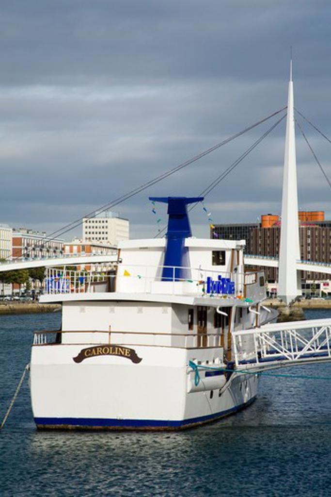Stock Photo: 1486-13385B Tourboat in the river, Seine River, Commerce Basin, Le Havre, Seine-Maritime, Haute-Normandy, France