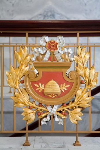 USA, Utah, Salt Lake City, State Crest in State Capitol Building : Stock Photo